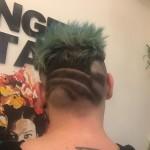 Hair cut geometric colour tropical blue